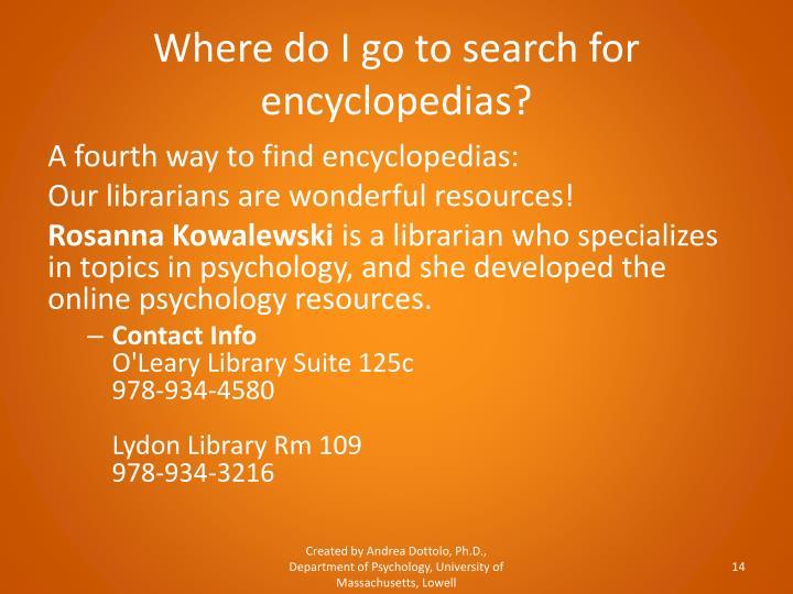 Where do I go to search for encyclopedias?