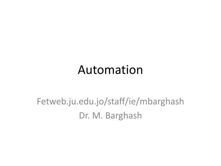 automation n.