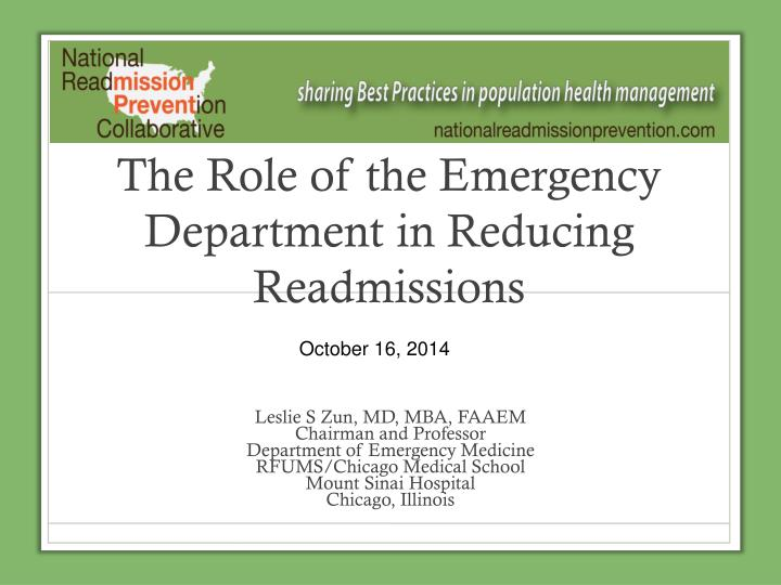 PPT - The Role of the Emergency Department in Reducing