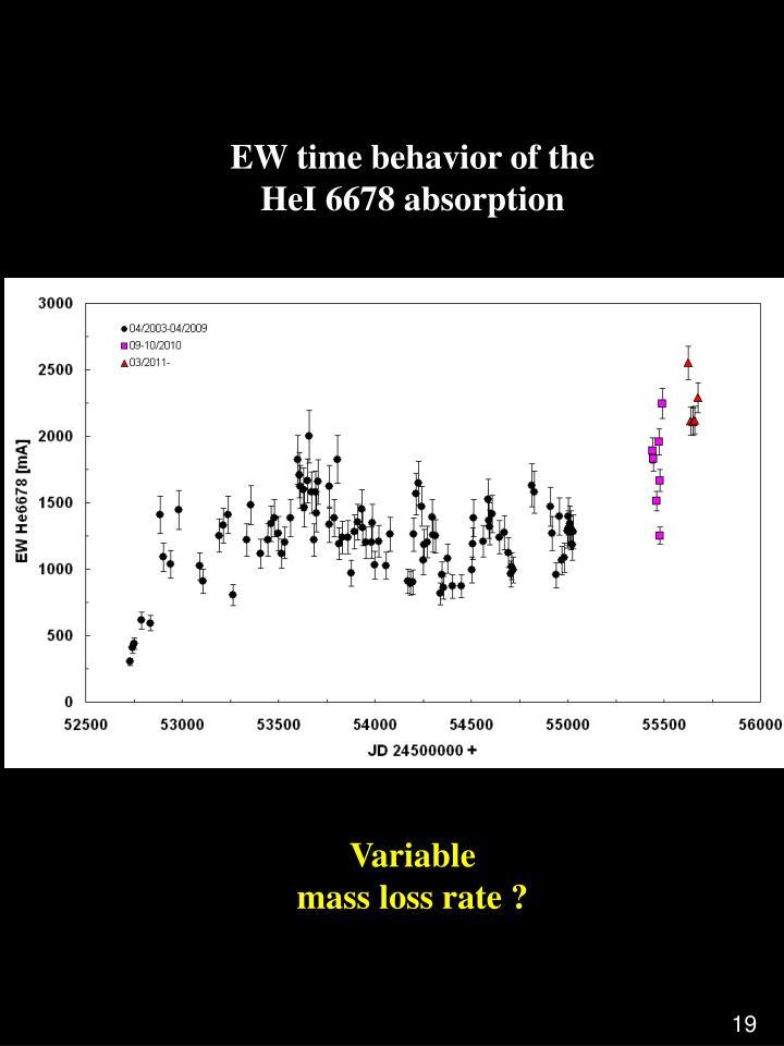 EW time behavior of the                                                       HeI 6678