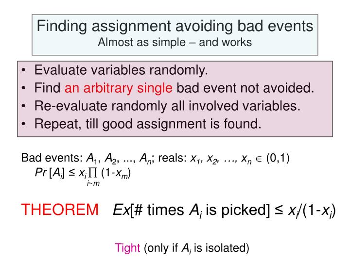 Finding assignment avoiding bad events