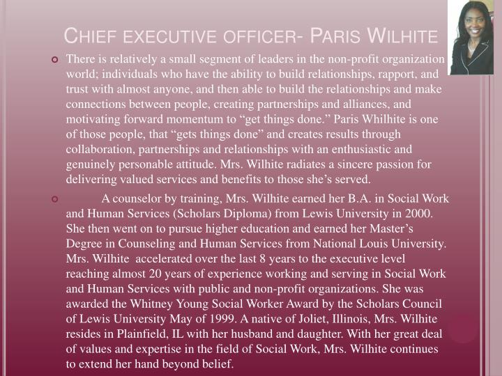 Chief executive officer paris wilhite