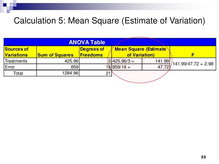 Calculation 5: Mean Square (Estimate of Variation)