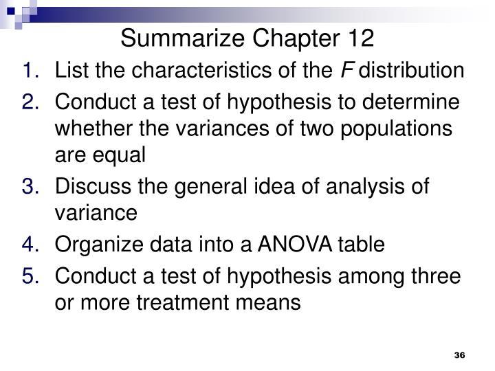 Summarize Chapter 12