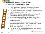 knowsley model of need characteristics level 3 universal partnership plus