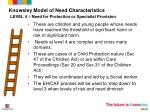 knowsley model of need characteristics level 4 need for protection or specialist provision
