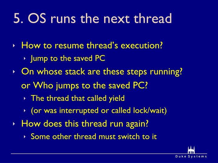 5. OS runs the next thread