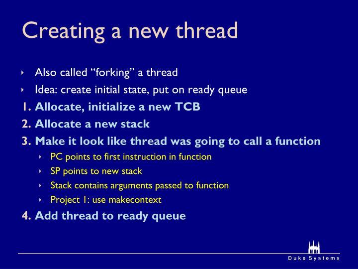 Creating a new thread