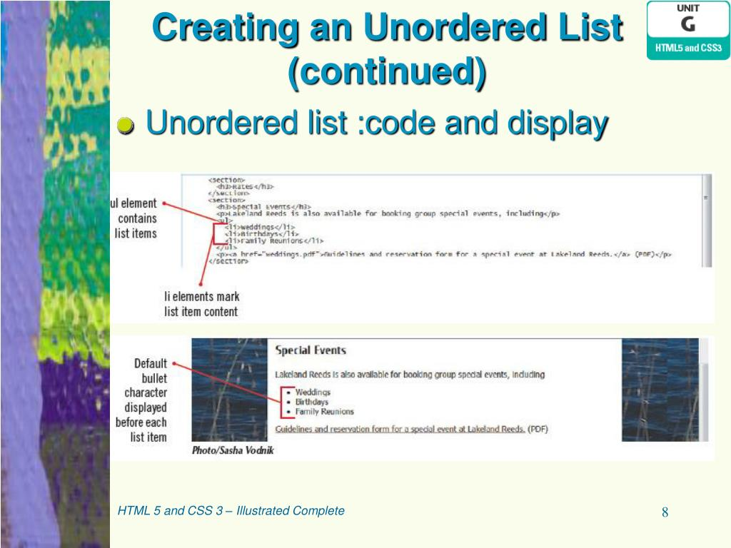 PPT - HTML5 and CSS3 Illustrated Unit G: Organizing Content
