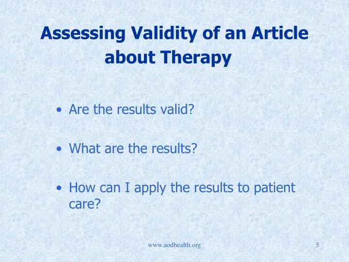 Assessing Validity of an Article about Therapy