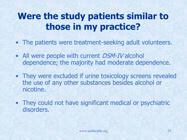 Were the study patients similar to those in my practice?