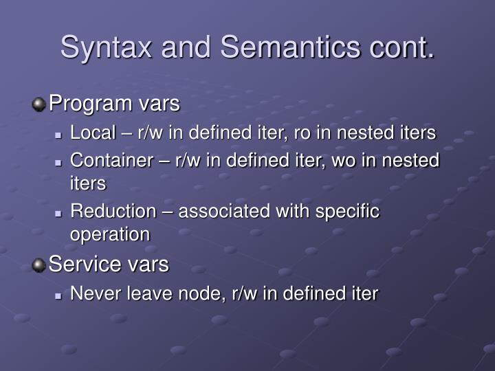 Syntax and Semantics cont.