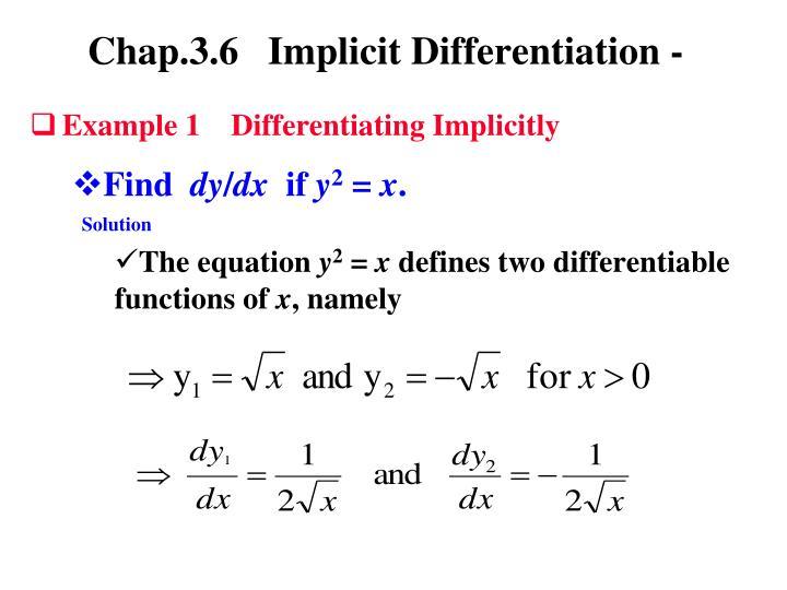 Ppt Implicit Differentiation Powerpoint Presentation Id6010282