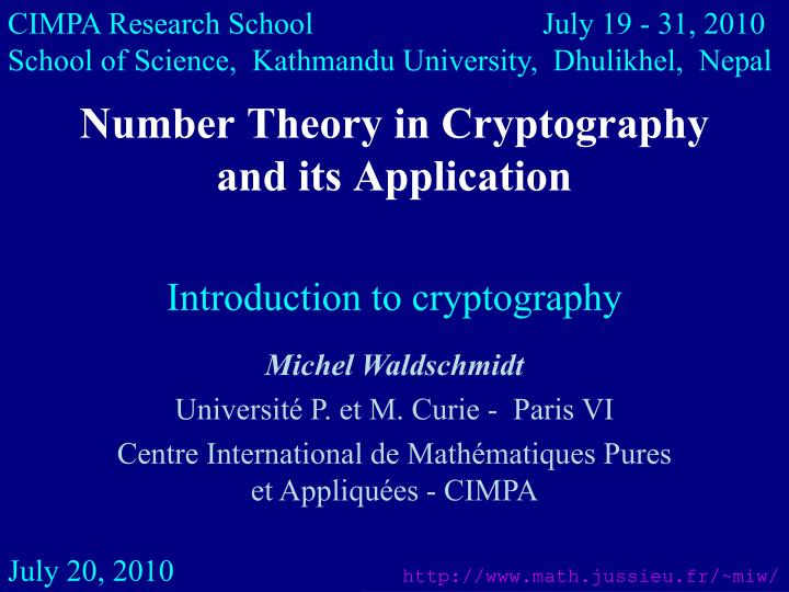 number theory in cryptography and its application n.