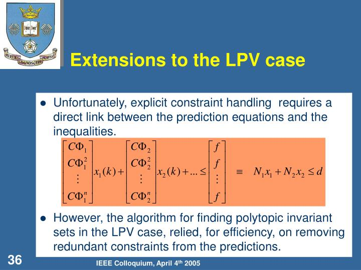 Extensions to the LPV case
