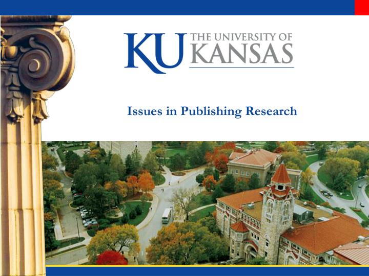 issues in publishing research n.