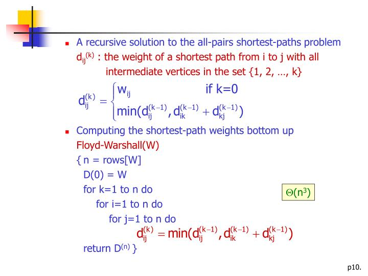 A recursive solution to the all-pairs shortest-paths problem