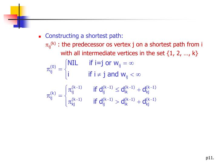 Constructing a shortest path: