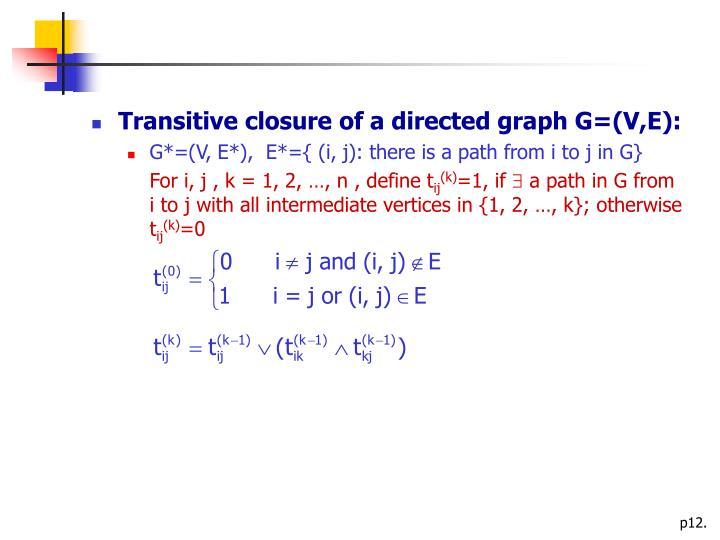 Transitive closure of a directed graph G=(V,E):