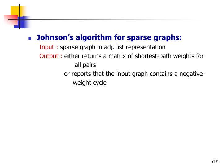 Johnson's algorithm for sparse graphs: