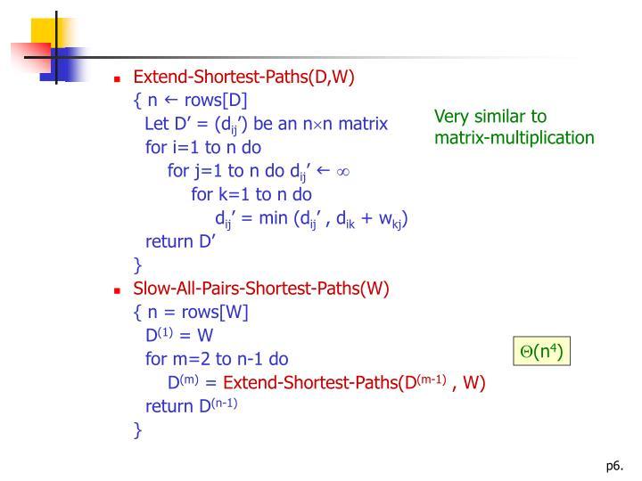 Extend-Shortest-Paths(D,W)