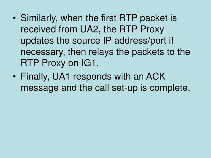 Similarly, when the first RTP packet is received from UA2, the RTP Proxy updates the source IP address/port if necessary, then relays the packets to the RTP Proxy on IG1.