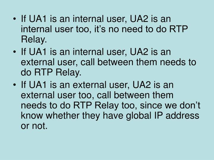 If UA1 is an internal user, UA2 is an internal user too, it's no need to do RTP Relay.