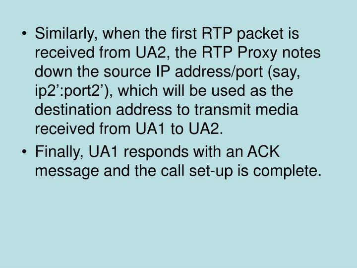 Similarly, when the first RTP packet is received from UA2, the RTP Proxy notes down the source IP address/port (say, ip2':port2'), which will be used as the destination address to transmit media received from UA1 to UA2.