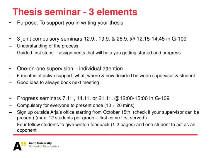 thesis seminar presentation The supervisor's presence at the seminar during your presentation is required   meng (non-thesis) project report guidelines master of engineering projects.