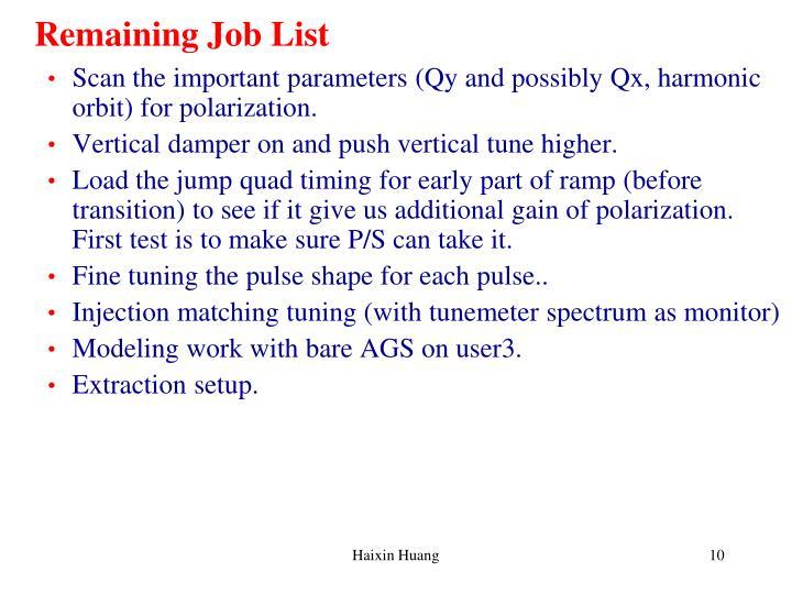 Remaining Job List