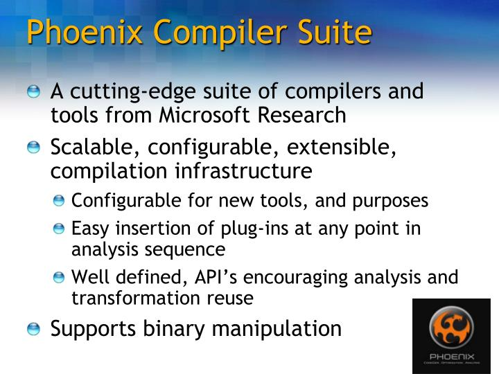 phoenix compiler research paper The paper proposes the reintroduction of visual basic 60 on the market,   archive surveys product showcase research library codeproject stuff   the vb6 compiler has been designed to satisfy the slow processors of the  of  vb6, (visual basic 60 phoenix would probably be a good name taking.