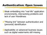 authentication open issues