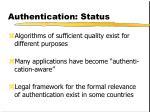 authentication status