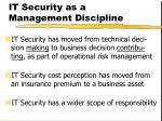 it security as a management discipline
