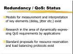 redundancy qos status