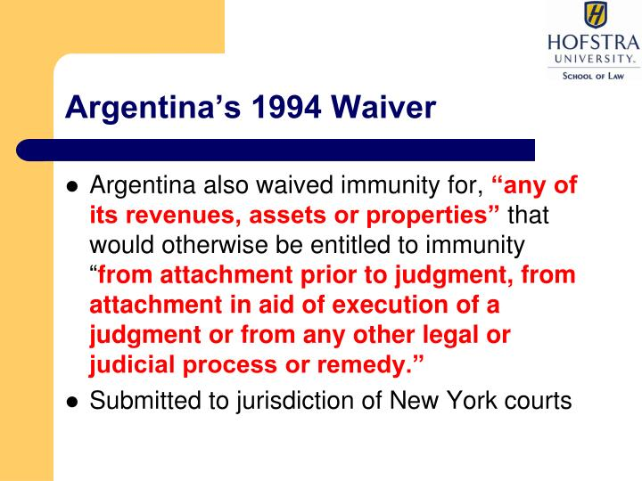 Argentina's 1994 Waiver