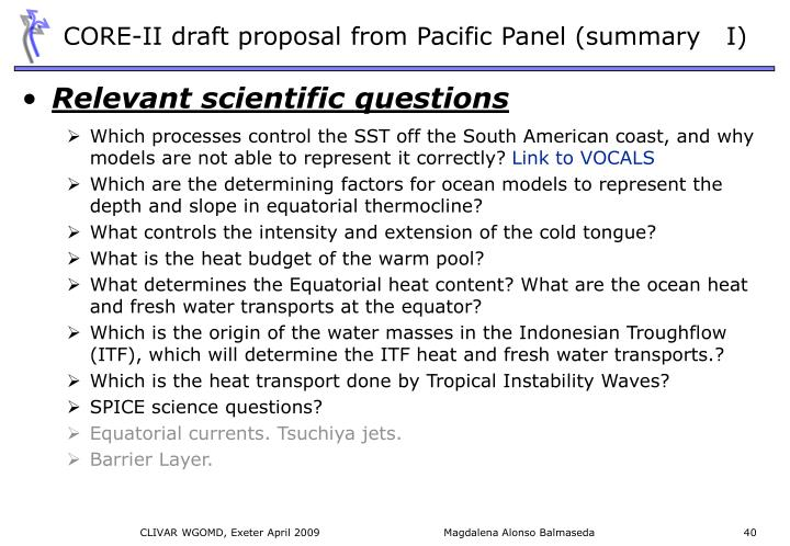 CORE-II draft proposal from Pacific Panel (summary   I)