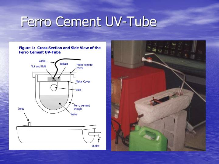 Figure 1:  Cross Section and Side View of the Ferro Cement UV-Tube
