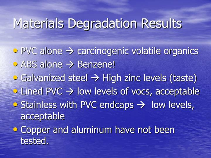 Materials Degradation Results