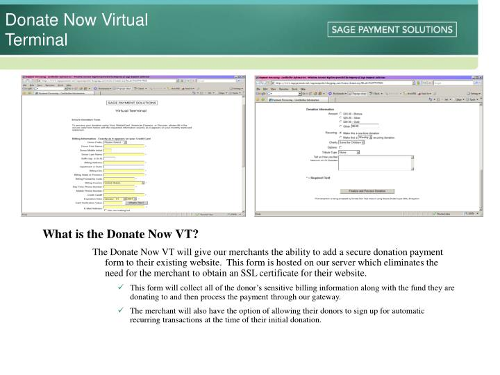 Donate now virtual terminal