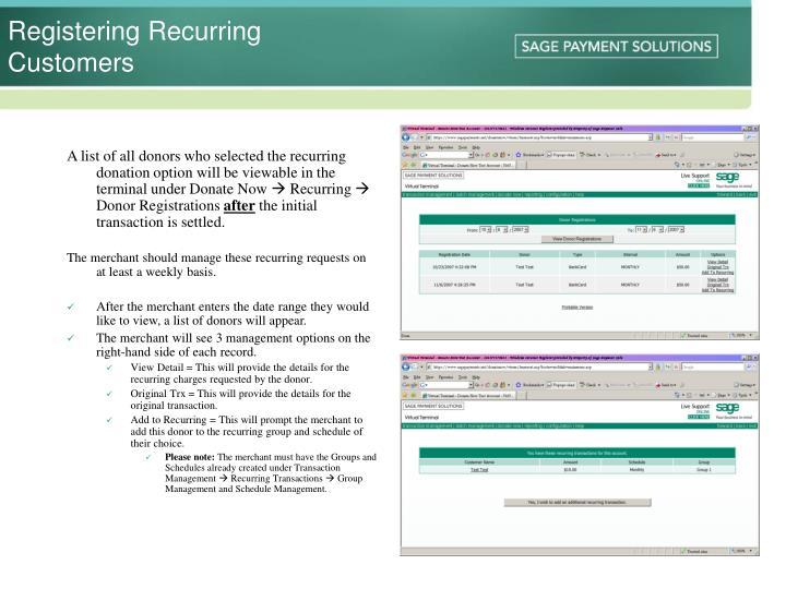 Registering Recurring Customers