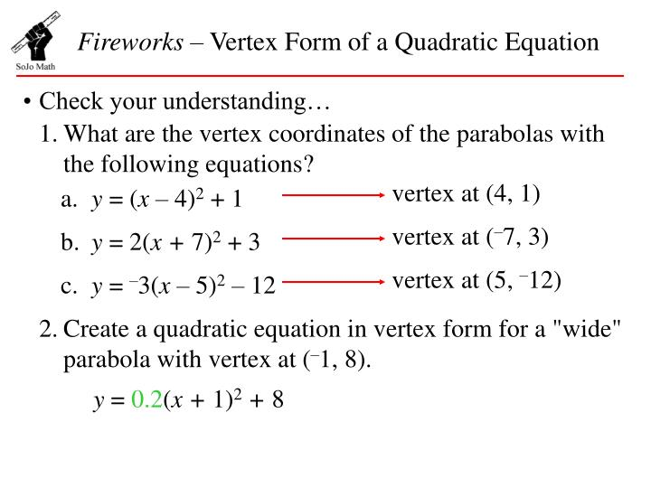 Ppt Fireworks Vertex Form Of A Quadratic Equation Powerpoint