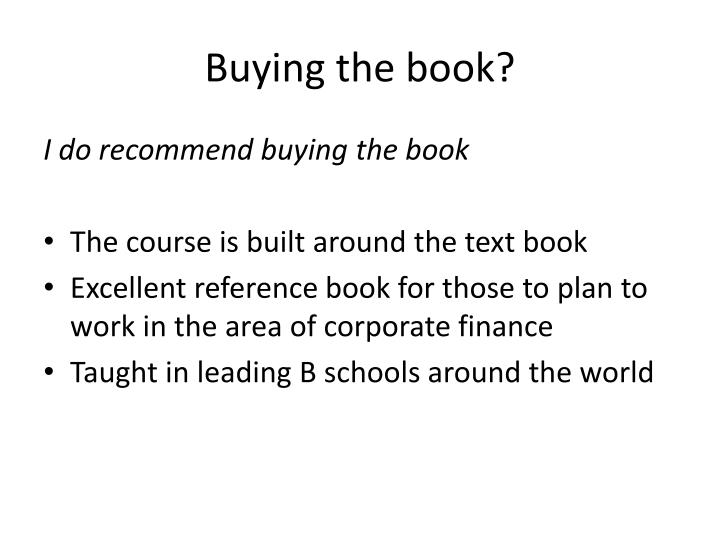 Buying the book?