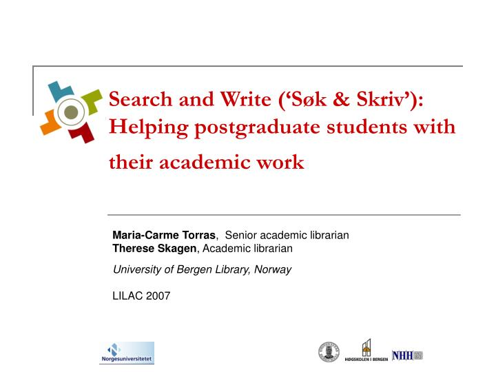 search and write s k skriv helping postgraduate students with their academic work n.