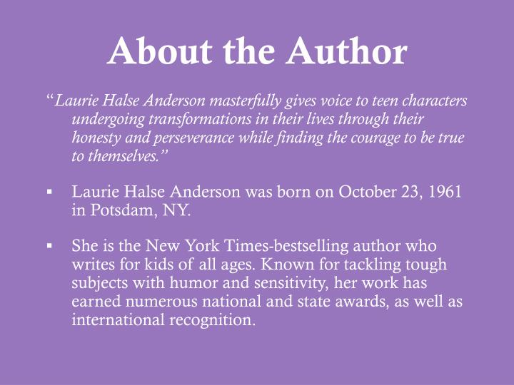 essay questions for speak by laurie halse anderson In laurie halse anderson's 1999 young adult novel, speak, the first-person narration is delivered by melinda, who reveals herself (in writing to a friend) to be a rape victim by the novel's end.
