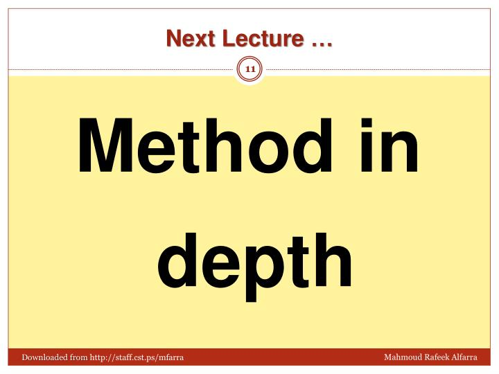 Next Lecture …