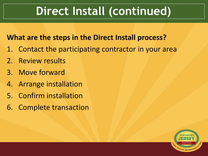 Direct Install (continued)