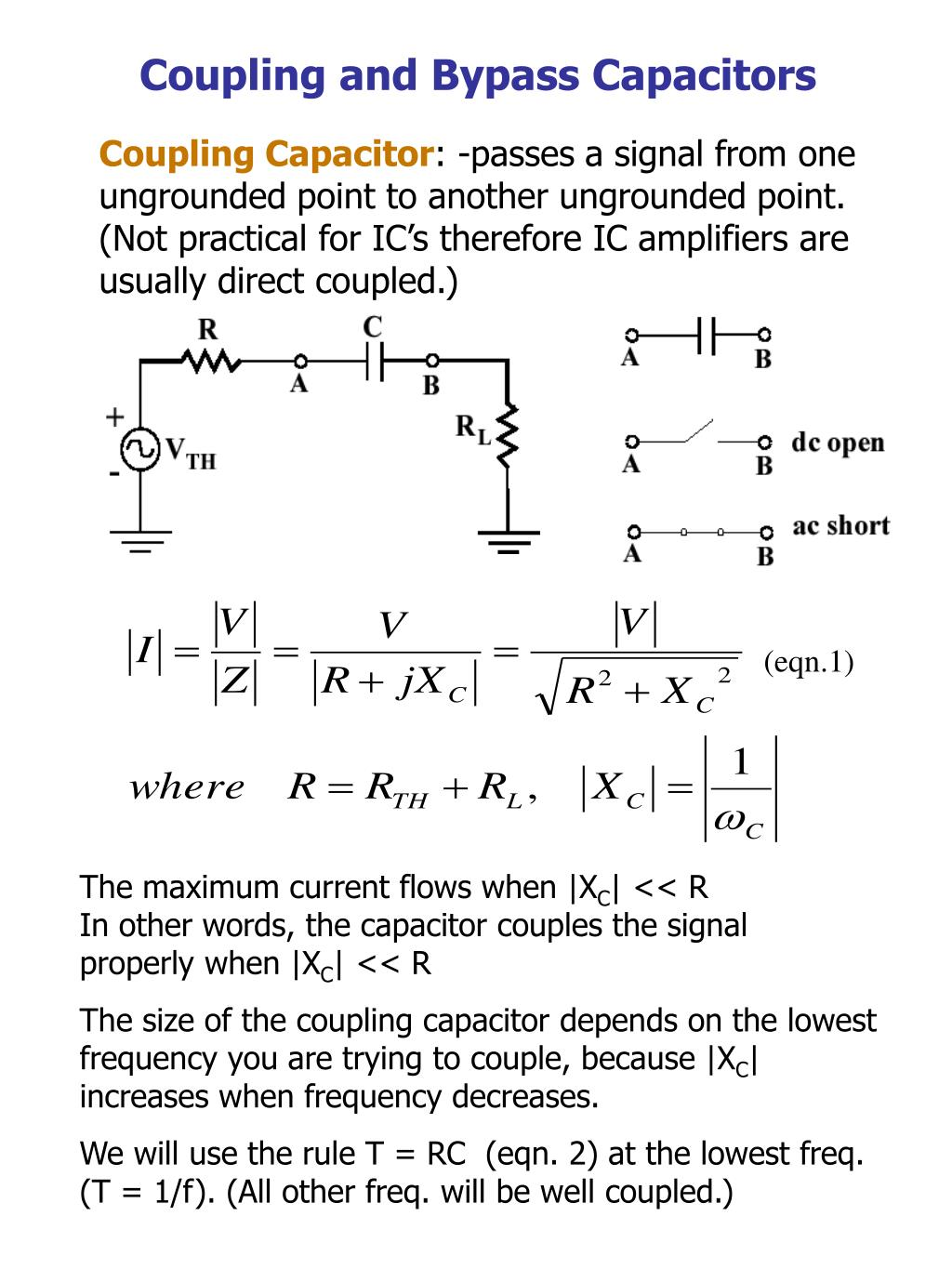 Ppt Coupling And Bypass Capacitors Powerpoint Presentation Id Find The Thvenin Equivalent Circuit With Respect To Capacitor N
