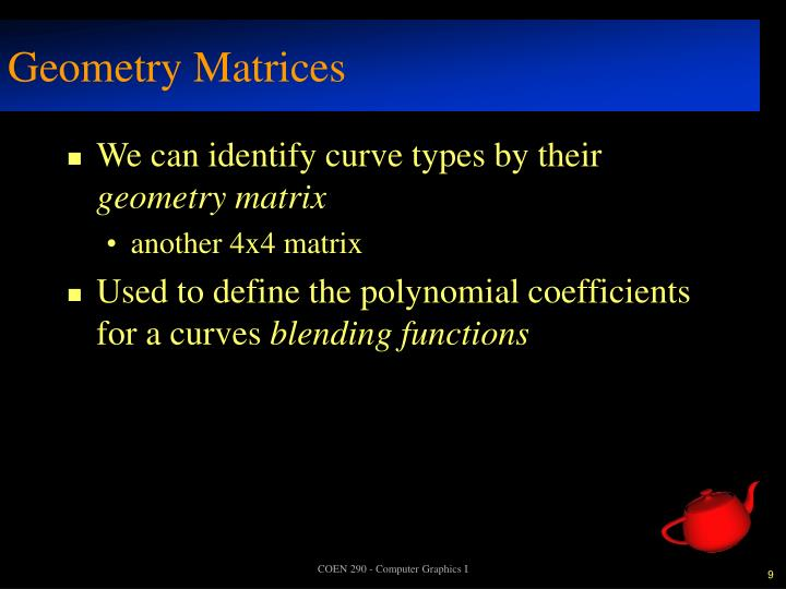 Geometry Matrices