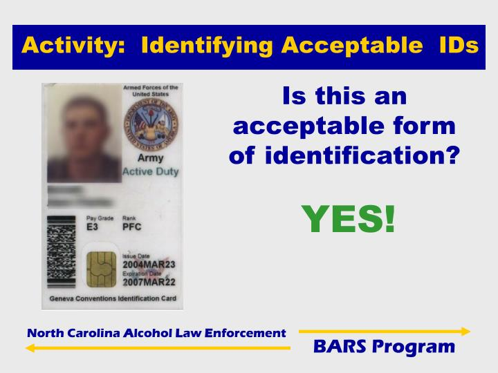 Activity:  Identifying Acceptable  IDs